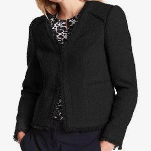 DKNY New Womens Fringe-Trim Textured Blazer Jacket
